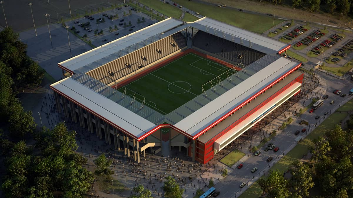 Fotorealistische 3D Architekturvisualisierung vom Fußballstadion Offenbach