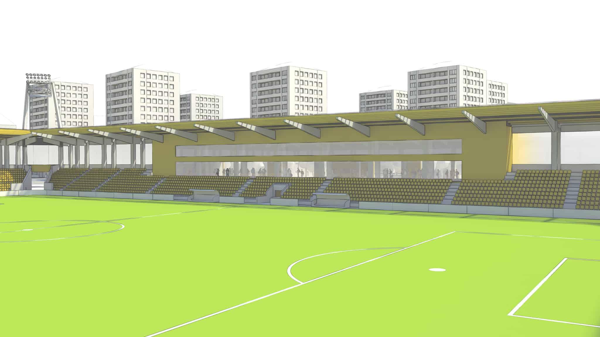 Schemenhafte Darstellung vom Spielfeld eines Fußballstadions