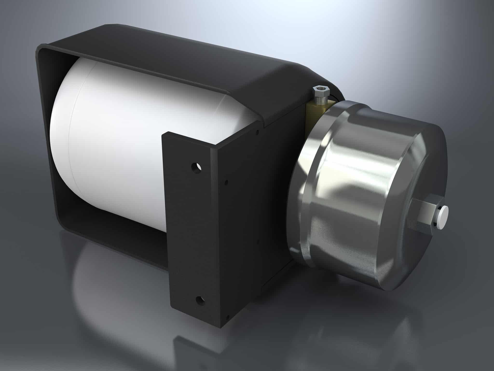 Fotorealistische 3D Darstellung eines Ausgleichbehälters für Hydraulikflüssigkeit